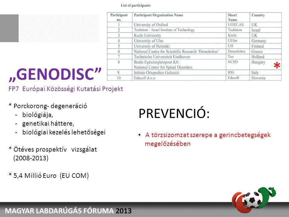 """""""GENODISC"""" FP7 Európai Közösségi Kutatási Projekt * Porckorong- degeneráció - biológiája, - genetikai háttere, - biológiai kezelés lehetőségei * Ötéve"""
