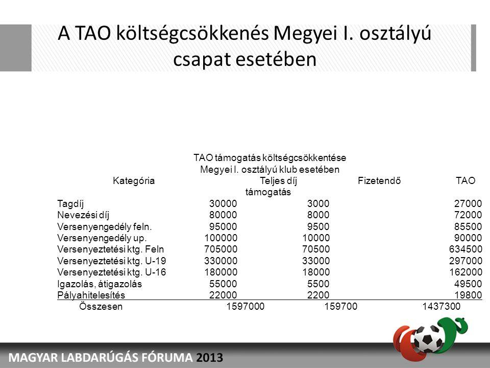 A TAO költségcsökkenés Megyei I.