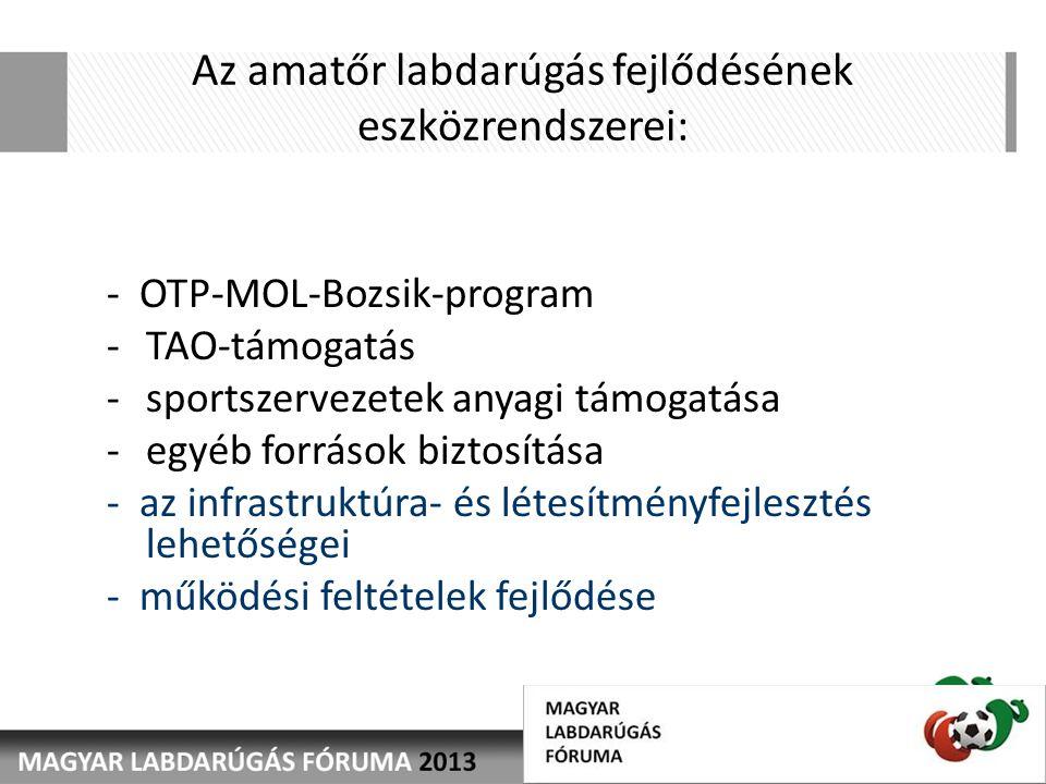 Az amatőr labdarúgás fejlődésének eszközrendszerei: - OTP-MOL-Bozsik-program -TAO-támogatás -sportszervezetek anyagi támogatása -egyéb források biztosítása - az infrastruktúra- és létesítményfejlesztés lehetőségei - működési feltételek fejlődése