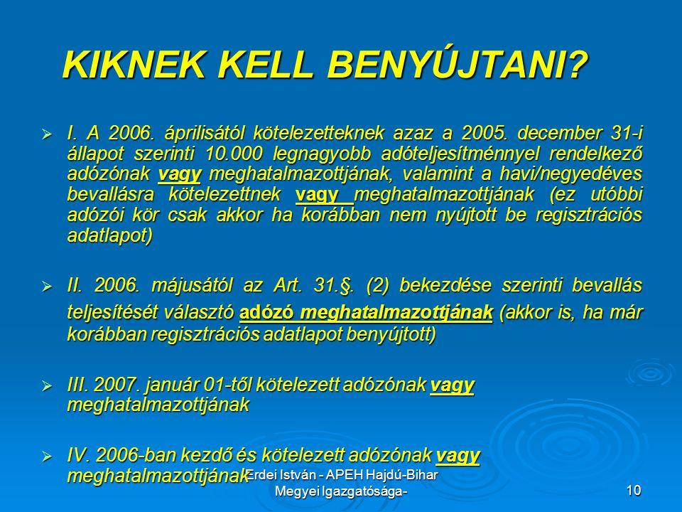 Erdei István - APEH Hajdú-Bihar Megyei Igazgatósága-10 KIKNEK KELL BENYÚJTANI?  I. A 2006. áprilisától kötelezetteknek azaz a 2005. december 31-i áll