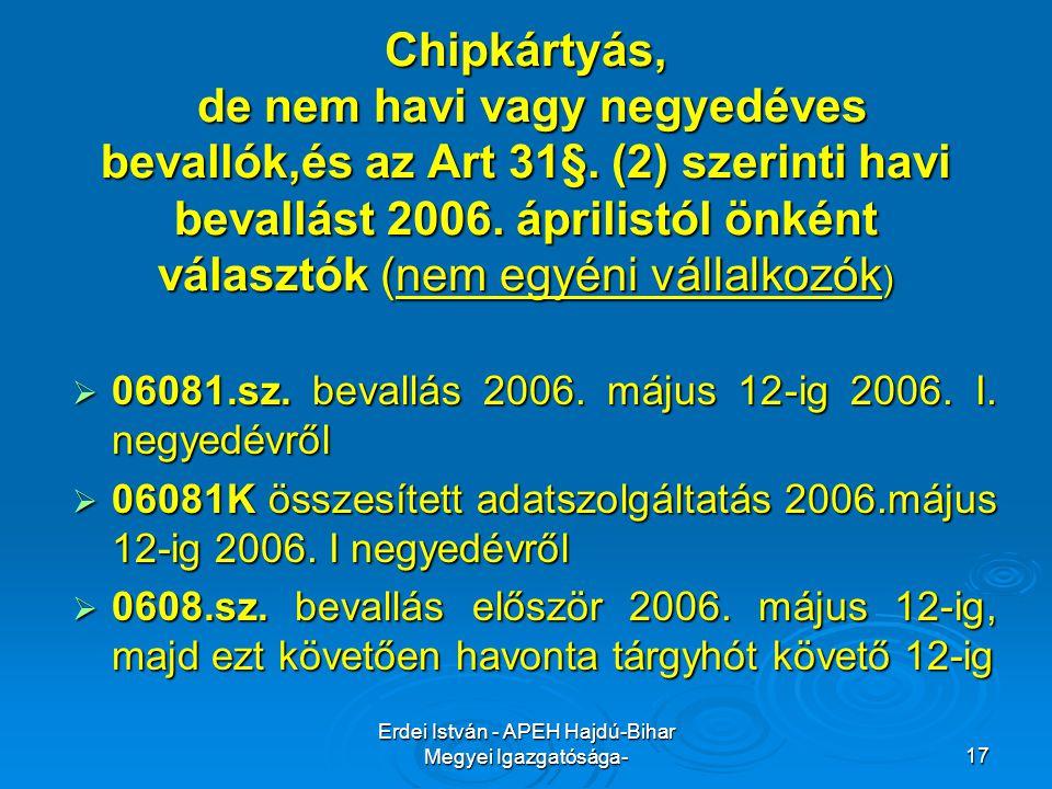 Erdei István - APEH Hajdú-Bihar Megyei Igazgatósága-17 Chipkártyás, de nem havi vagy negyedéves bevallók,és az Art 31§. (2) szerinti havi bevallást 20