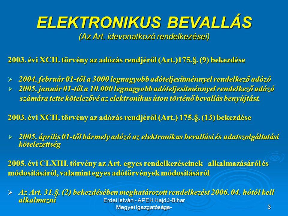 Erdei István - APEH Hajdú-Bihar Megyei Igazgatósága-3 ELEKTRONIKUS BEVALLÁS (Az Art. idevonatkozó rendelkezései) 2003. évi XCII. törvény az adózás ren