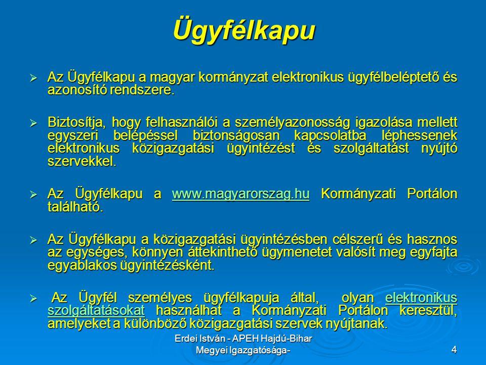 Erdei István - APEH Hajdú-Bihar Megyei Igazgatósága-4 Ügyfélkapu  Az Ügyfélkapu a magyar kormányzat elektronikus ügyfélbeléptető és azonosító rendsze