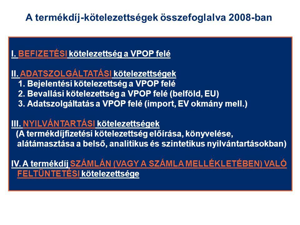 I. BEFIZETÉSI kötelezettség a VPOP felé II. ADATSZOLGÁLTATÁSI kötelezettségek 1. Bejelentési kötelezettség a VPOP felé 2. Bevallási kötelezettség a VP