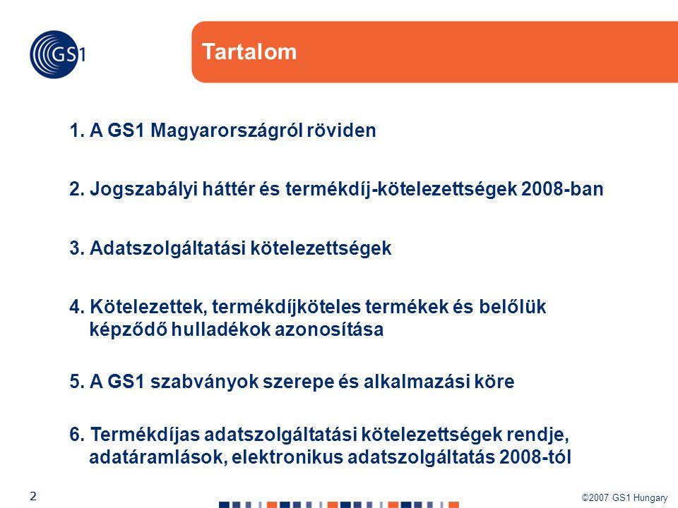 ©2007 GS1 Hungary 22 1. A GS1 Magyarországról röviden Tartalom 2. Jogszabályi háttér és termékdíj-kötelezettségek 2008-ban 5. A GS1 szabványok szerepe