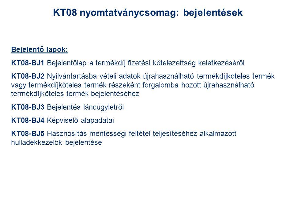KT08 nyomtatványcsomag: bejelentések Bejelentő lapok: KT08-BJ1 Bejelentőlap a termékdíj fizetési kötelezettség keletkezéséről KT08-BJ2 Nyilvántartásba