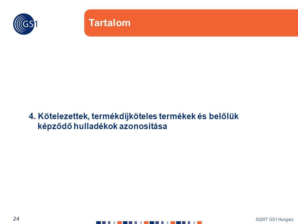 ©2007 GS1 Hungary 24 Tartalom 4. Kötelezettek, termékdíjköteles termékek és belőlük képződő hulladékok azonosítása