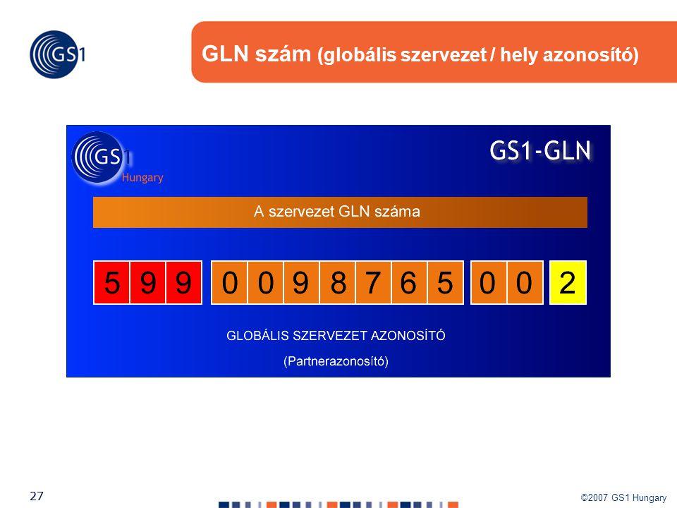 ©2007 GS1 Hungary 27 GLN szám (globális szervezet / hely azonosító)