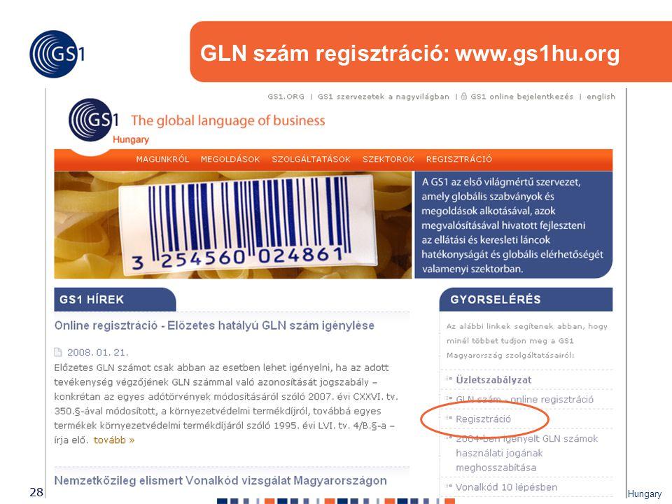 ©2007 GS1 Hungary 28 GLN szám regisztráció: www.gs1hu.org