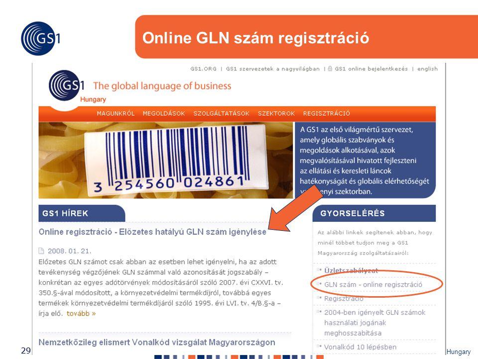 ©2007 GS1 Hungary 29 Online GLN szám regisztráció