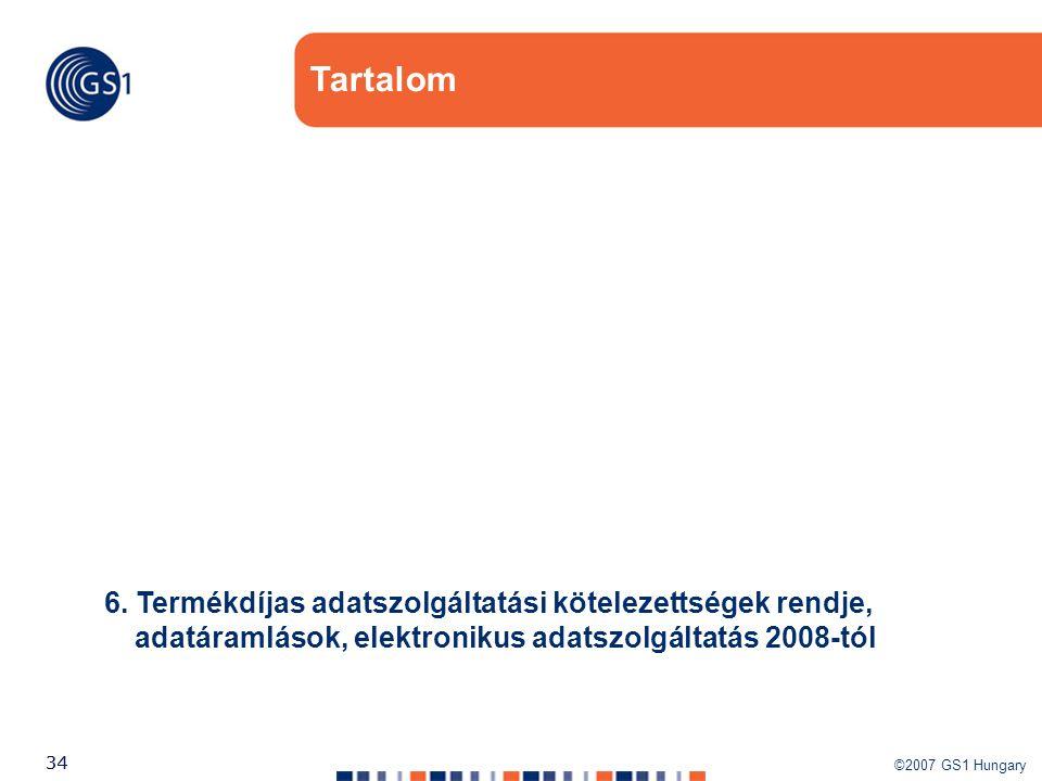 ©2007 GS1 Hungary 34 Tartalom 6. Termékdíjas adatszolgáltatási kötelezettségek rendje, adatáramlások, elektronikus adatszolgáltatás 2008-tól