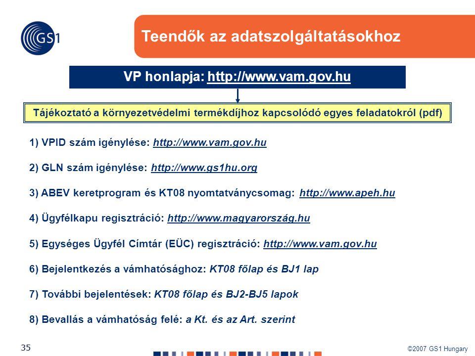 ©2007 GS1 Hungary 35 Teendők az adatszolgáltatásokhoz Tájékoztató a környezetvédelmi termékdíjhoz kapcsolódó egyes feladatokról (pdf) VP honlapja: htt