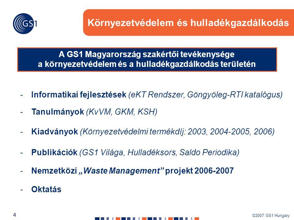 ©2007 GS1 Hungary 44 Környezetvédelem és hulladékgazdálkodás -Kiadványok (Környezetvédelmi termékdíj: 2003, 2004-2005, 2006) -Tanulmányok (KvVM, GKM,