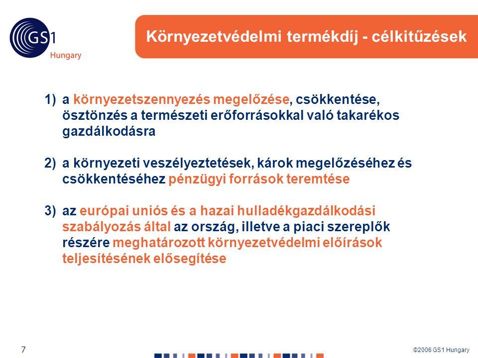 ©2006 GS1 Hungary 7 Környezetvédelmi termékdíj - célkitűzések 1)a környezetszennyezés megelőzése, csökkentése, ösztönzés a természeti erőforrásokkal v