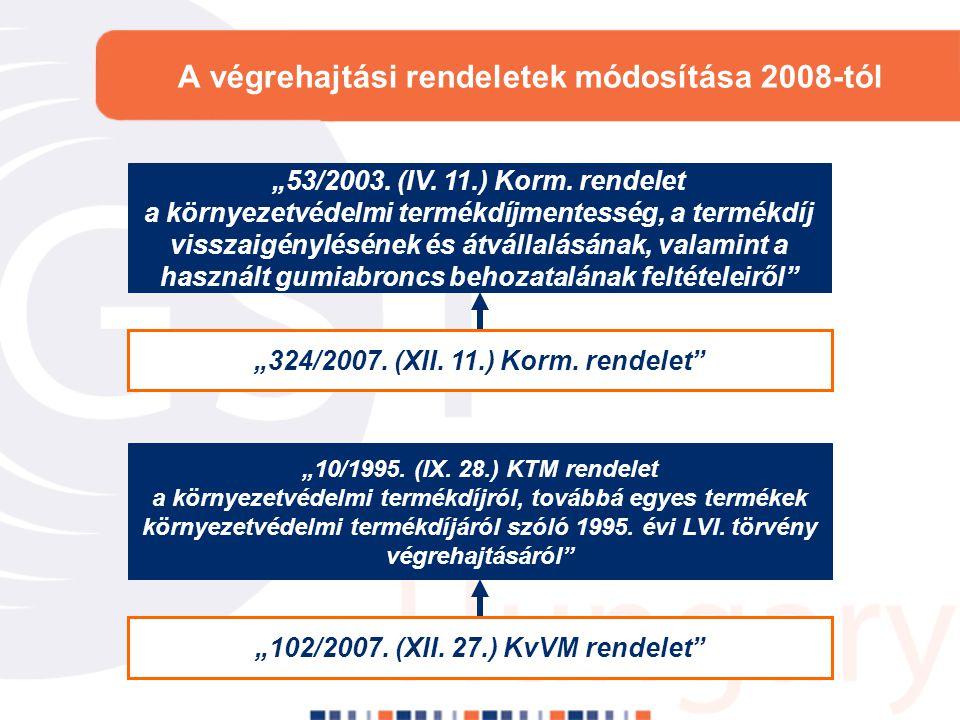 """A végrehajtási rendeletek módosítása 2008-tól """"53/2003. (IV. 11.) Korm. rendelet a környezetvédelmi termékdíjmentesség, a termékdíj visszaigénylésének"""
