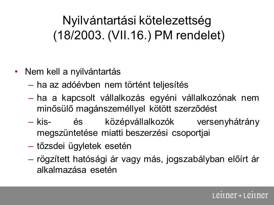 Nyilvántartási kötelezettség (18/2003.