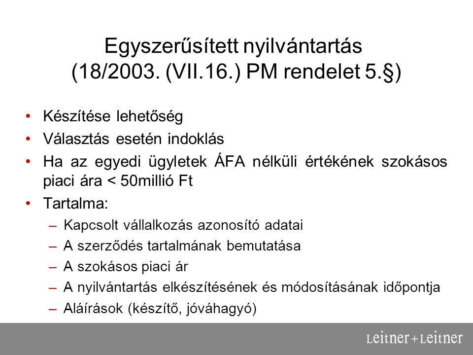 Egyszerűsített nyilvántartás (18/2003.