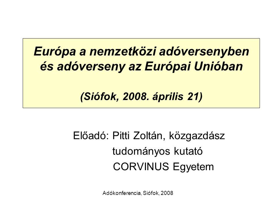 Adókonferencia, Siófok, 2008 A társasági adóteher a GDP százalékában, 2006 2,6% százalék A társasági adókból származó adóbevételek viszonylag kis súlyt képviselnek 2,1% Forrás: Taxation trends in the EU, EUROSTAT, 2007 adatai alapján Pitti Zoltán szerkesztése
