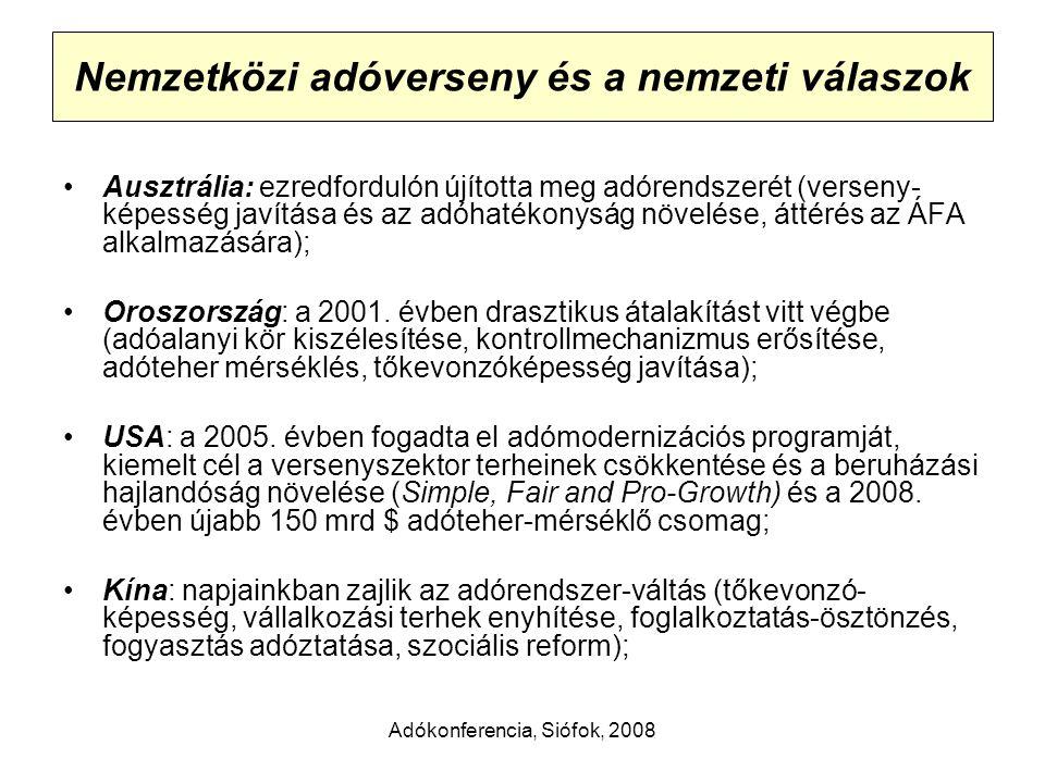 Adókonferencia, Siófok, 2008 Nemzetközi adóverseny és a nemzeti válaszok Ausztrália: ezredfordulón újította meg adórendszerét (verseny- képesség javítása és az adóhatékonyság növelése, áttérés az ÁFA alkalmazására); Oroszország: a 2001.