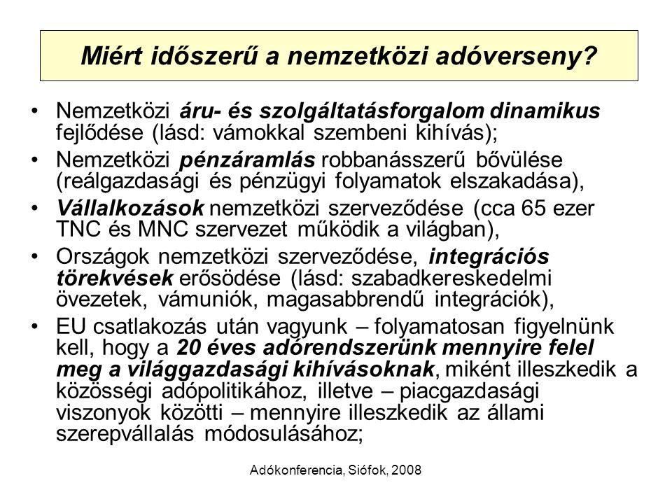 Adókonferencia, Siófok, 2008 Mitől függ az adóterhelés mértéke.