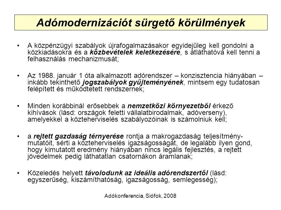 Adókonferencia, Siófok, 2008 Adómodernizációt sürgető körülmények A közpénzügyi szabályok újrafogalmazásakor egyidejűleg kell gondolni a közkiadásokra és a közbevételek keletkezésére, s átláthatóvá kell tenni a felhasználás mechanizmusát; Az 1988.