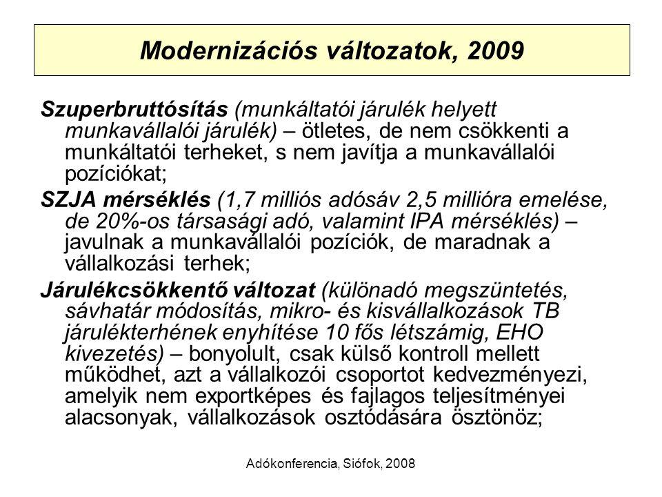 Adókonferencia, Siófok, 2008 Modernizációs változatok, 2009 Szuperbruttósítás (munkáltatói járulék helyett munkavállalói járulék) – ötletes, de nem csökkenti a munkáltatói terheket, s nem javítja a munkavállalói pozíciókat; SZJA mérséklés (1,7 milliós adósáv 2,5 millióra emelése, de 20%-os társasági adó, valamint IPA mérséklés) – javulnak a munkavállalói pozíciók, de maradnak a vállalkozási terhek; Járulékcsökkentő változat (különadó megszüntetés, sávhatár módosítás, mikro- és kisvállalkozások TB járulékterhének enyhítése 10 fős létszámig, EHO kivezetés) – bonyolult, csak külső kontroll mellett működhet, azt a vállalkozói csoportot kedvezményezi, amelyik nem exportképes és fajlagos teljesítményei alacsonyak, vállalkozások osztódására ösztönöz;