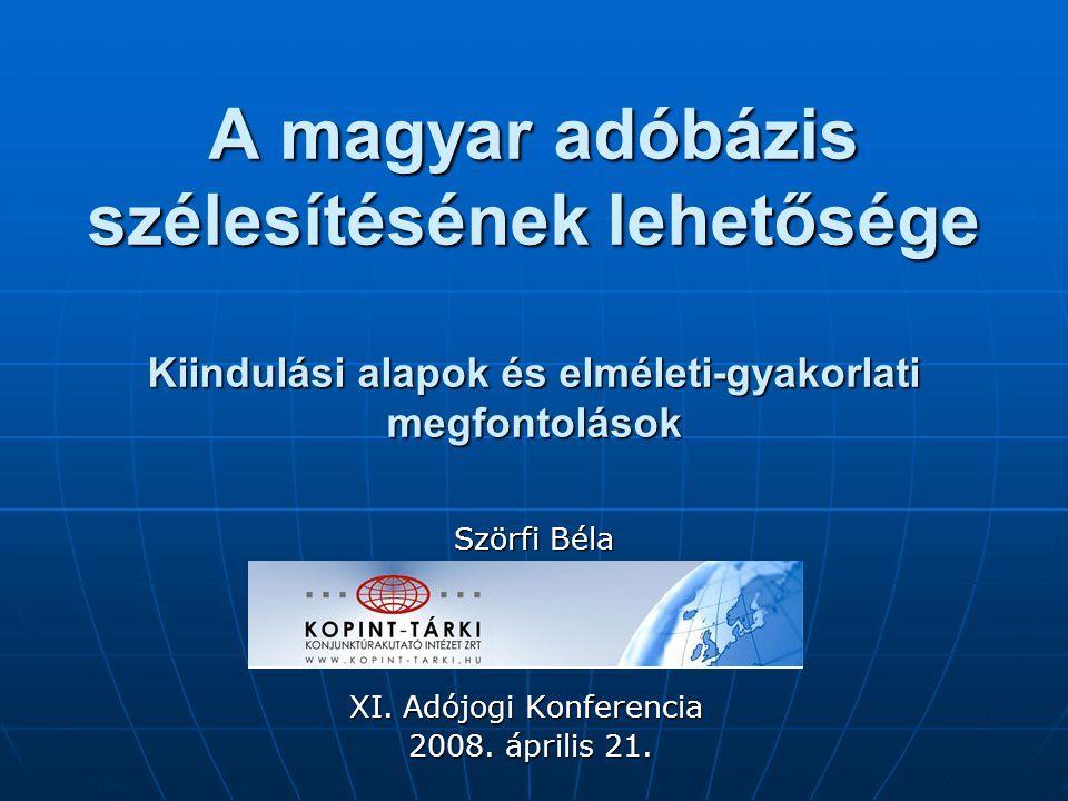 A magyar adóbázis szélesítésének lehetősége Kiindulási alapok és elméleti-gyakorlati megfontolások XI. Adójogi Konferencia 2008. április 21. 2008. ápr