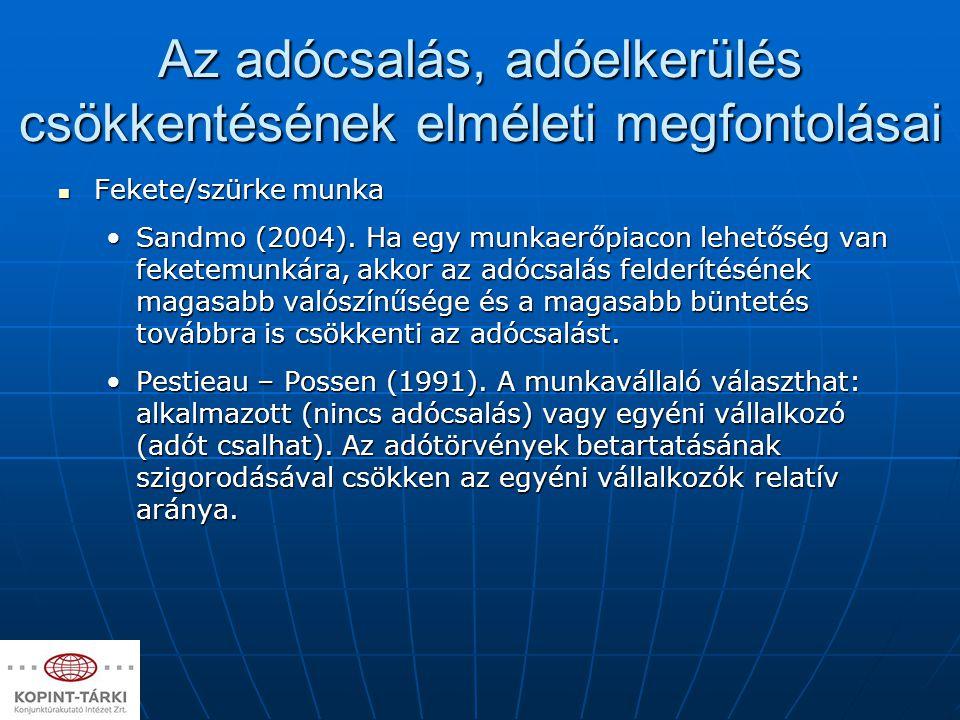 Az adócsalás, adóelkerülés csökkentésének elméleti megfontolásai Fekete/szürke munka Fekete/szürke munka Sandmo (2004). Ha egy munkaerőpiacon lehetősé