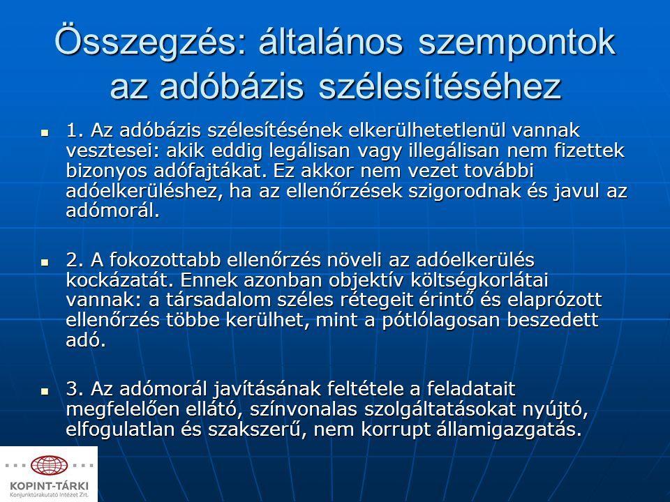 Összegzés: általános szempontok az adóbázis szélesítéséhez 1. Az adóbázis szélesítésének elkerülhetetlenül vannak vesztesei: akik eddig legálisan vagy