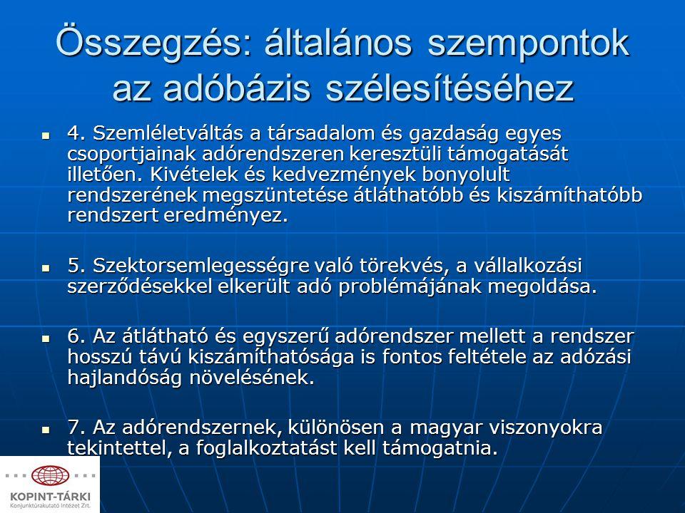 Összegzés: általános szempontok az adóbázis szélesítéséhez 4. Szemléletváltás a társadalom és gazdaság egyes csoportjainak adórendszeren keresztüli tá