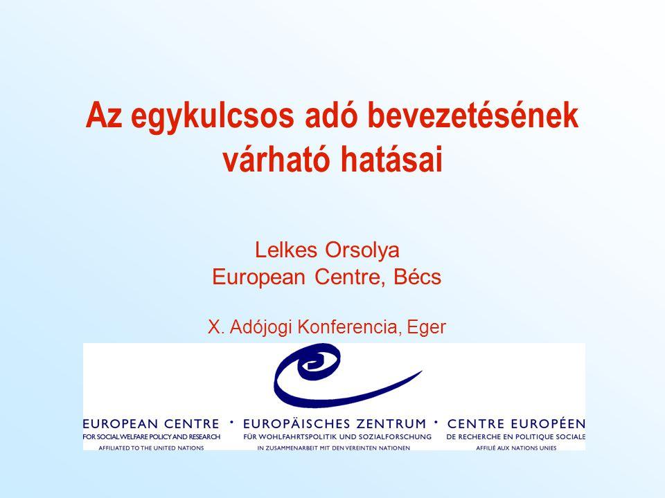 Az egykulcsos adó bevezetésének várható hatásai Lelkes Orsolya European Centre, Bécs X. Adójogi Konferencia, Eger