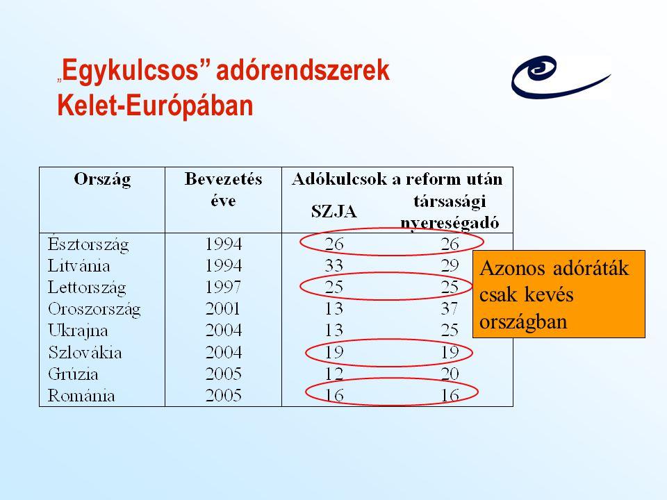 A lineáris adó hatásai más országokban Oroszország –bevételnövekedés –IMF: gazdasági növekedés a fő ok, nem adóreform –módos csoportok (adócsökkenés): adófizetés nem nőtt –  szegényebbek: adófizetés nőtt Szlovákia –adóreform egy strukturális reformcsomag része –korábbi 18 kulcs helyett 1 –nincs elemzés az egyéni viselkedési hatásokról –kockázati besorolása javult –direkt adóbevételek csökkenése
