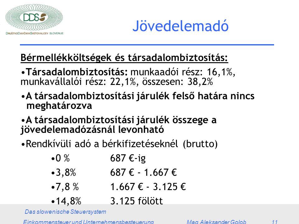 Das slowenische Steuersystem Einkommensteuer und Unternehmensbesteuerung Mag.Aleksander Golob 11 Jövedelemadó Bérmellékköltségek és társadalombiztosítás: Társadalombiztosítás: munkaadói rész: 16,1%, munkavállalói rész: 22,1%, összesen: 38,2% A társadalombiztosítási járulék felső határa nincs meghatározva A társadalombiztosítási járulék összege a jövedelemadózásnál levonható Rendkívüli adó a bérkifizetéseknél (brutto) 0 % 687 €-ig 3,8%687 € - 1.667 € 7,8 %1.667 € - 3.125 € 14,8%3.125 fölött
