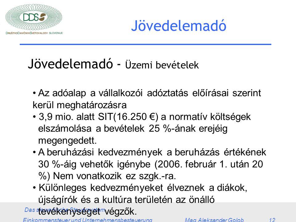 Das slowenische Steuersystem Einkommensteuer und Unternehmensbesteuerung Mag.Aleksander Golob 12 Jövedelemadó Jövedelemadó - Üzemi bevételek Az adóalap a vállalkozói adóztatás előírásai szerint kerül meghatározásra 3,9 mio.