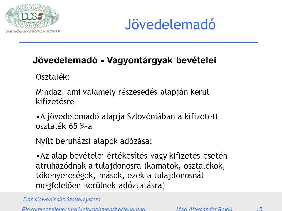 Das slowenische Steuersystem Einkommensteuer und Unternehmensbesteuerung Mag.Aleksander Golob 15 Jövedelemadó Jövedelemadó - Vagyontárgyak bevételei Osztalék: Mindaz, ami valamely részesedés alapján kerül kifizetésre A jövedelemadó alapja Szlovéniában a kifizetett osztalék 65 %-a Nyílt beruházsi alapok adózása: Az alap bevételei értékesítés vagy kifizetés esetén átruházódnak a tulajdonosra (kamatok, osztalékok, tőkenyereségek, mások, ezek a tulajdonosnál megfelelően kerülnek adóztatásra)