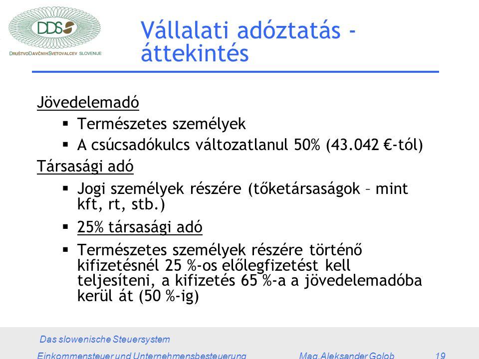Das slowenische Steuersystem Einkommensteuer und Unternehmensbesteuerung Mag.Aleksander Golob 19 Vállalati adóztatás - áttekintés Jövedelemadó  Természetes személyek  A csúcsadókulcs változatlanul 50% (43.042 €-tól) Társasági adó  Jogi személyek részére (tőketársaságok – mint kft, rt, stb.)  25% társasági adó  Természetes személyek részére történő kifizetésnél 25 %-os előlegfizetést kell teljesíteni, a kifizetés 65 %-a a jövedelemadóba kerül át (50 %-ig)