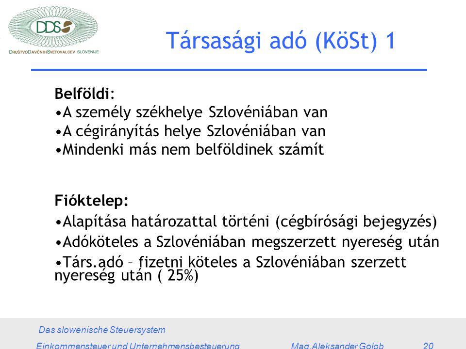 Das slowenische Steuersystem Einkommensteuer und Unternehmensbesteuerung Mag.Aleksander Golob 20 Társasági adó (KöSt) 1 Belföldi: A személy székhelye Szlovéniában van A cégirányítás helye Szlovéniában van Mindenki más nem belföldinek számít Fióktelep: Alapítása határozattal történi (cégbírósági bejegyzés) Adóköteles a Szlovéniában megszerzett nyereség után Társ.adó – fizetni köteles a Szlovéniában szerzett nyereség után ( 25%)