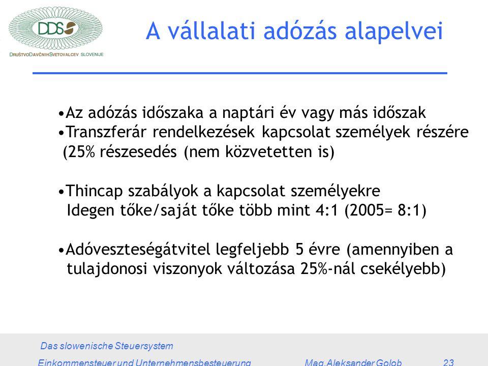 Das slowenische Steuersystem Einkommensteuer und Unternehmensbesteuerung Mag.Aleksander Golob 23 A vállalati adózás alapelvei Az adózás időszaka a naptári év vagy más időszak Transzferár rendelkezések kapcsolat személyek részére (25% részesedés (nem közvetetten is) Thincap szabályok a kapcsolat személyekre Idegen tőke/saját tőke több mint 4:1 (2005= 8:1) Adóveszteségátvitel legfeljebb 5 évre (amennyiben a tulajdonosi viszonyok változása 25%-nál csekélyebb)