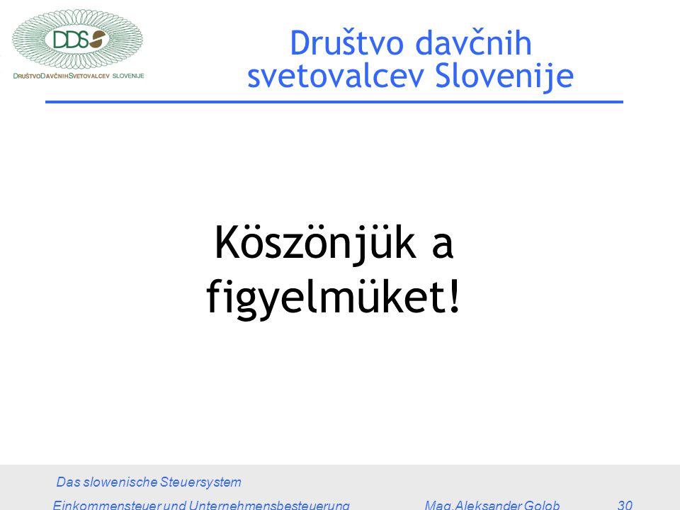 Das slowenische Steuersystem Einkommensteuer und Unternehmensbesteuerung Mag.Aleksander Golob 30 Društvo davčnih svetovalcev Slovenije Köszönjük a figyelmüket!