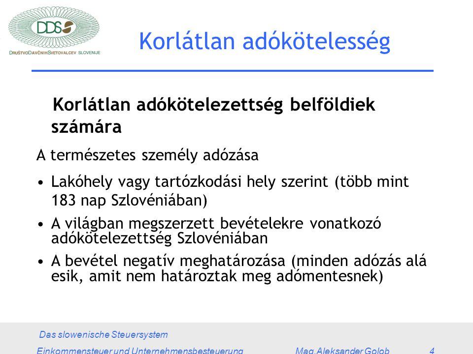 Das slowenische Steuersystem Einkommensteuer und Unternehmensbesteuerung Mag.Aleksander Golob 4 Korlátlan adókötelesség Korlátlan adókötelezettség belföldiek számára A természetes személy adózása Lakóhely vagy tartózkodási hely szerint (több mint 183 nap Szlovéniában) A világban megszerzett bevételekre vonatkozó adókötelezettség Szlovéniában A bevétel negatív meghatározása (minden adózás alá esik, amit nem határoztak meg adómentesnek)