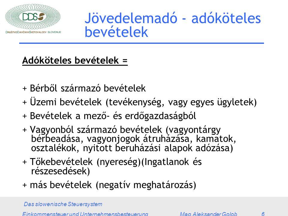 Das slowenische Steuersystem Einkommensteuer und Unternehmensbesteuerung Mag.Aleksander Golob 6 Adóköteles bevételek = + Bérből származó bevételek + Üzemi bevételek (tevékenység, vagy egyes ügyletek) + Bevételek a mező- és erdőgazdaságból + Vagyonból származó bevételek (vagyontárgy bérbeadása, vagyonjogok átruházása, kamatok, osztalékok, nyitott beruházási alapok adózása) + Tőkebevételek (nyereség)(Ingatlanok és részesedések) + más bevételek (negatív meghatározás) Jövedelemadó - adóköteles bevételek