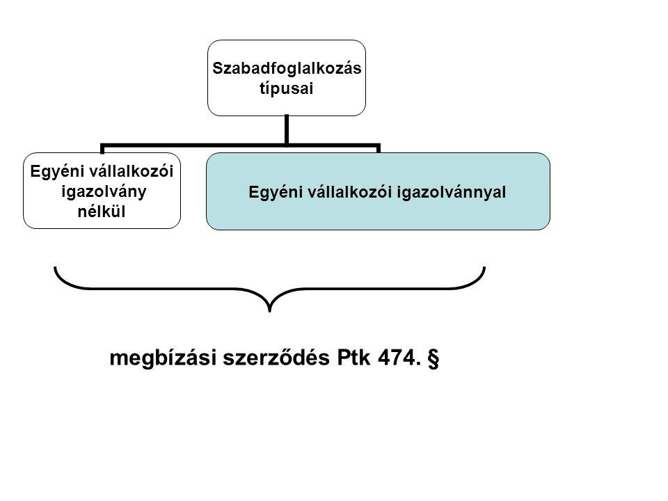 Szabadfoglalkozás típusai Egyéni vállalkozói igazolvány nélkül Egyéni vállalkozói igazolvánnyal megbízási szerződés Ptk 474.