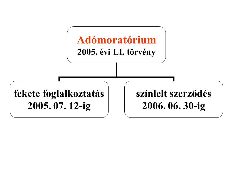 Adómoratórium 2005. évi LI. törvény fekete foglalkoztatás 2005. 07. 12-ig színlelt szerződés 2006. 06. 30-ig