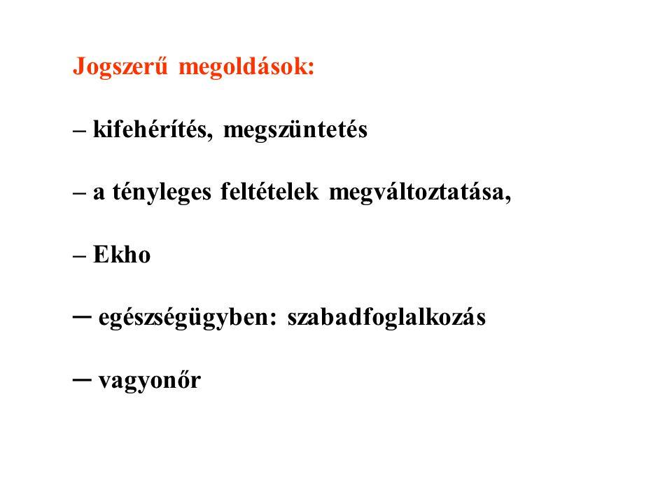 Jogszerű megoldások: – kifehérítés, megszüntetés – a tényleges feltételek megváltoztatása, – Ekho ─ egészségügyben: szabadfoglalkozás ─ vagyonőr