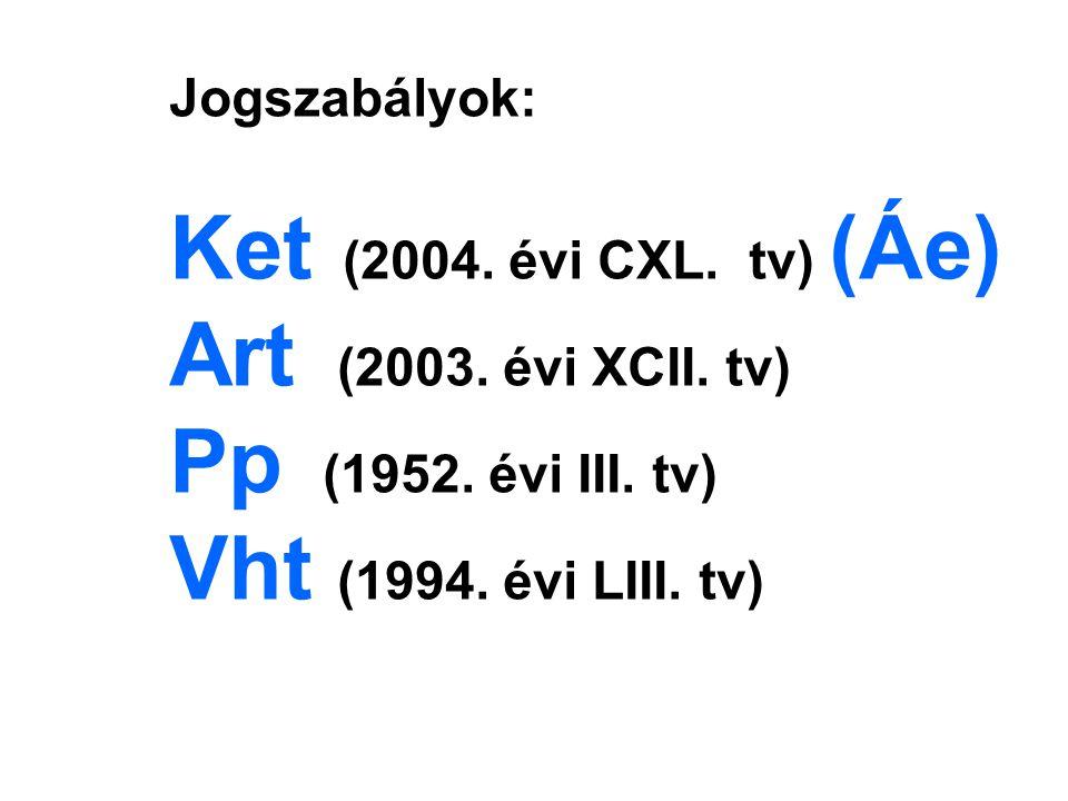 Jogszabályok: Ket (2004. évi CXL. tv) (Áe) Art (2003.