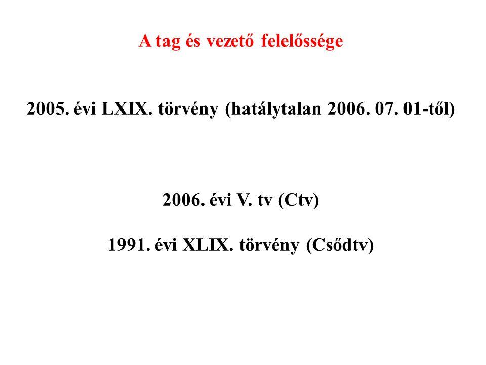 A tag és vezető felelőssége 2005. évi LXIX. törvény (hatálytalan 2006.
