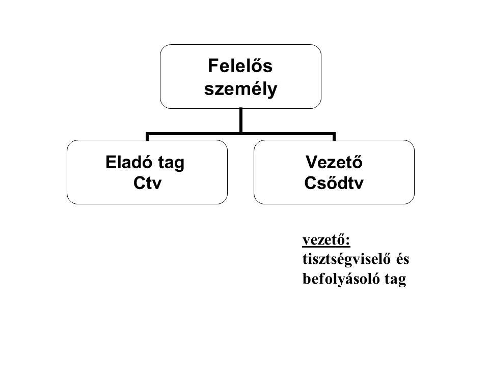 Felelős személy Eladó tag Ctv Vezető Csődtv vezető: tisztségviselő és befolyásoló tag