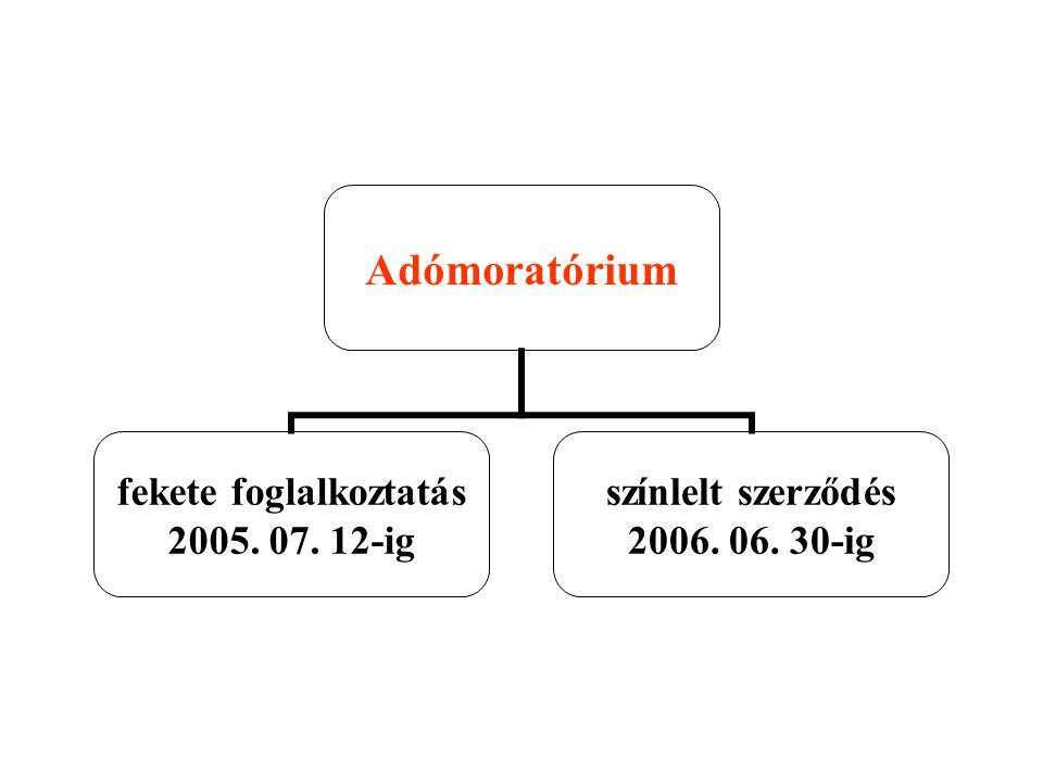 Adómoratórium fekete foglalkoztatás 2005. 07. 12-ig színlelt szerződés 2006. 06. 30-ig