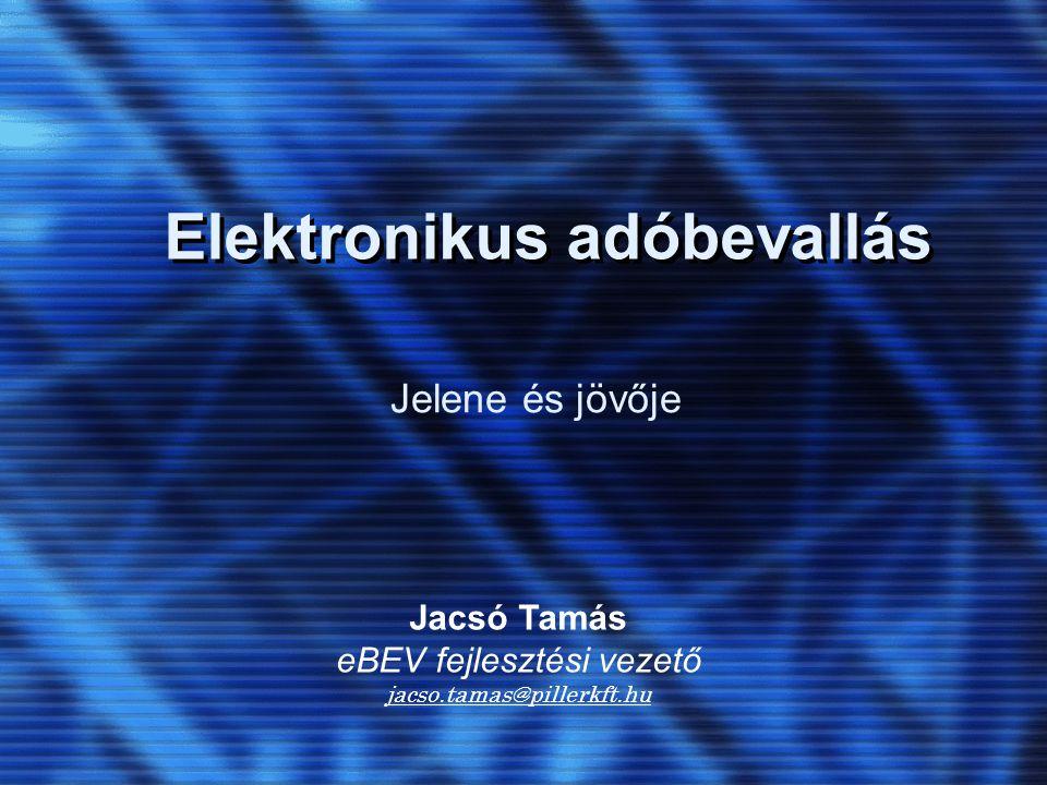 Elektronikus adóbevallás Jelene és jövője Jacsó Tamás eBEV fejlesztési vezető jacso.tamas@pillerkft.hu