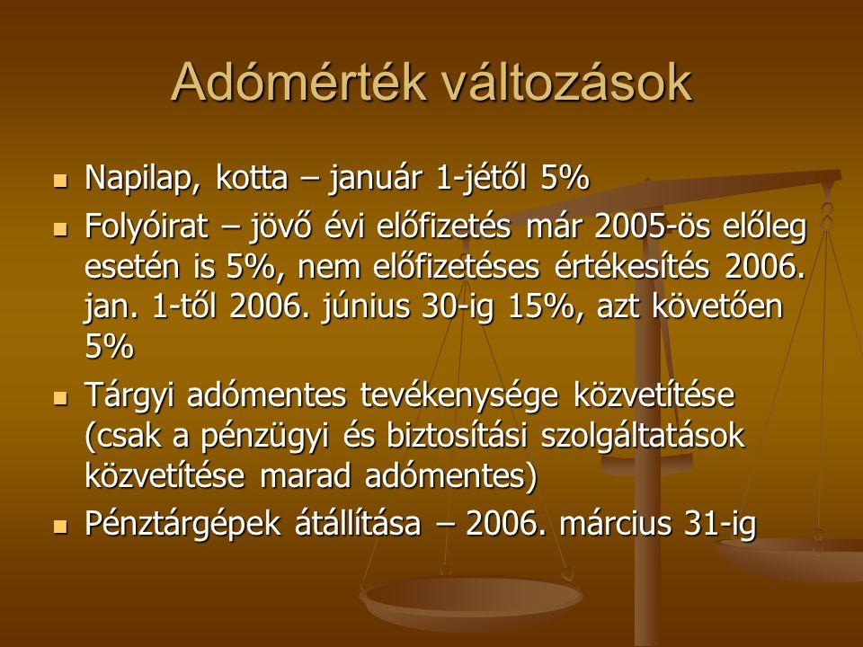 Adómérték változások Napilap, kotta – január 1-jétől 5% Napilap, kotta – január 1-jétől 5% Folyóirat – jövő évi előfizetés már 2005-ös előleg esetén i